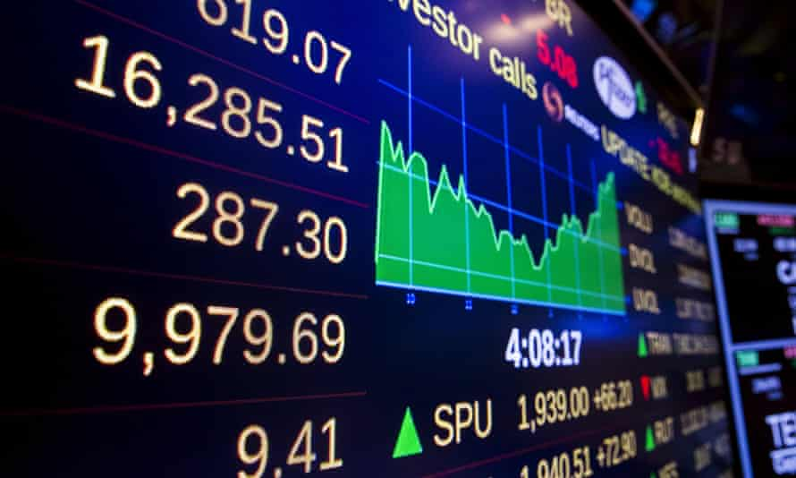 The New York Stock Exchange's closing numbers shortly before the closing bell on Wednesday