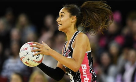 Maria Folau during Sunday's match between the Thunderbirds and the Swift, which ended in a draw.
