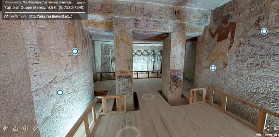 Screenshot from the virtual tour of the tomb of Queen Meresankh III