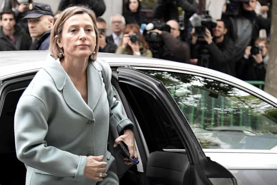 The Catalan regional parliament speaker, Carme Forcadell, arrives for questioning.