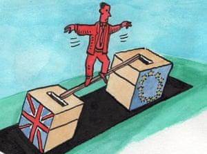 Man balancing between UK and EU