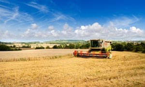 A combine harvester on the Lincolnshire wolds.