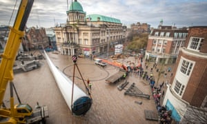 A huge wind turbine blade is installed at Queen Victoria Square in Hull
