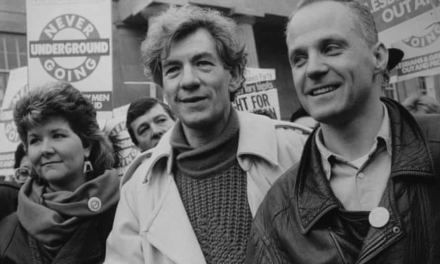 At a gay rights march in 1988 with Ian McKellen