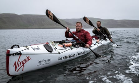 Olly Hicks and George Bullard, in their kayak as part of their journey to Greenland.