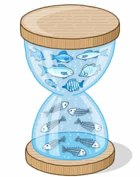 Illustration of an egg timer with fish swimming around in the top half and fish skeletons in the bottom half
