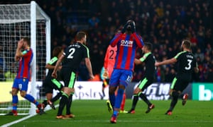 Christian Benteke reacts to missing the injury-time penalty at Selhurst Park.