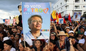 People attend a rally for Gustavo Petro in Cali, Colombia. He has developed a following not seen in generations for a leftist candidate.