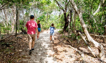 A family, viewed from behind, going for a bush walk along a sandy trail.