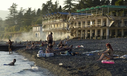 People on the beach of Sukhumi, capital of Abkhazia