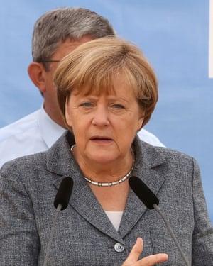 Angela Merkel speaks at a Christian Democratic Union (CDU) party campaign in Bad Doberan, eastern Germany, on September 3, 2016