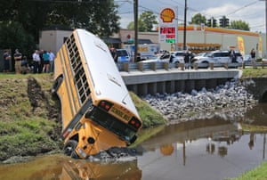 Louisiana, USA: A school bus that crashed into a canal in Metairie