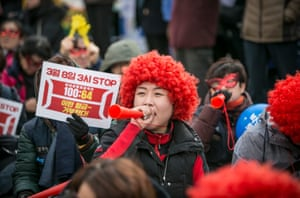 South Korean women protest against gender inequality and sexual harassment in the workplace.