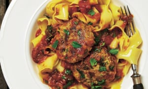 Yotam Ottolenghi's pappardelle with cod cakes in tomato sauce.