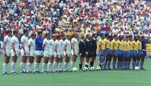 Teams from England and Brazil line up prior to their World Cup match in the Jalisco Stadium in Mexico.