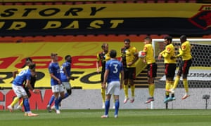 James Maddison of Leicester City free kick is blocked by the Watford wall