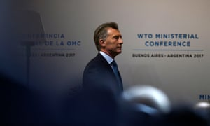 Argentinian president Mauricio Macri arrives at the opening ceremony of the 11th Ministerial Conference of the World Trade Organization in Buenos Aires.