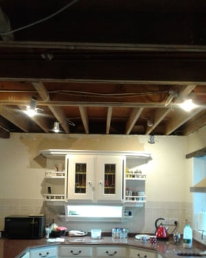 Kitchen without a ceiling.