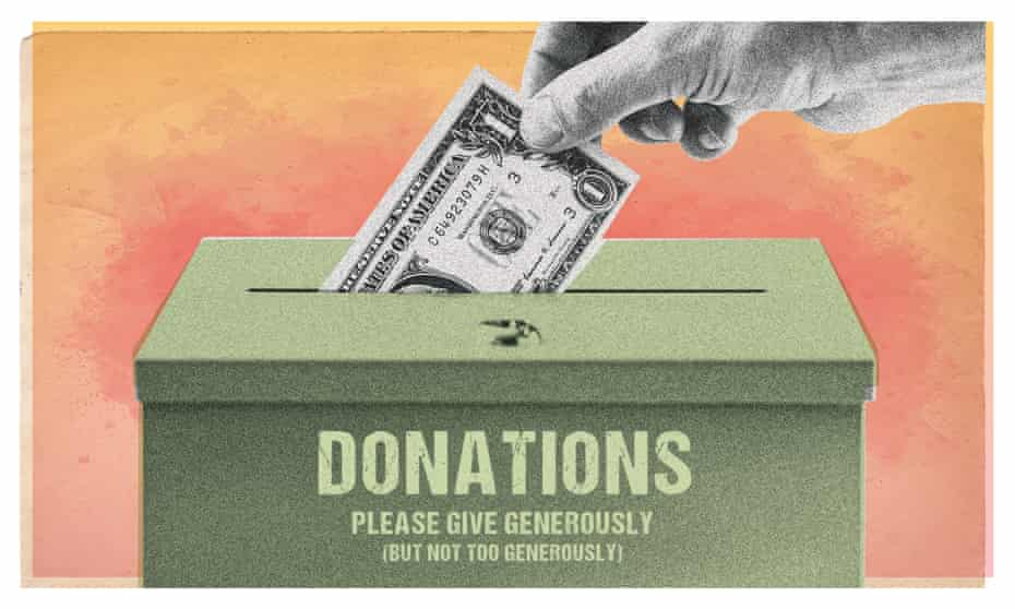 """A hand dropping money into a donation box which reads """"Donations: please give generously (but not too generously)"""