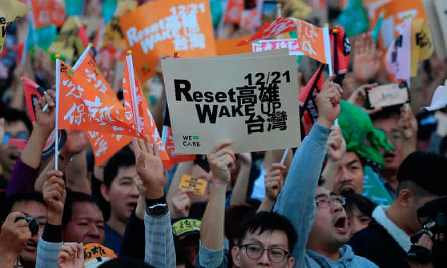 Protesters against Taiwan's KMT presidential candidate Han Kuo-yu during a protest in Kaohsiung