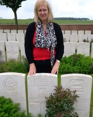 Julia Knowles at the grave of William Munro Hutchinson