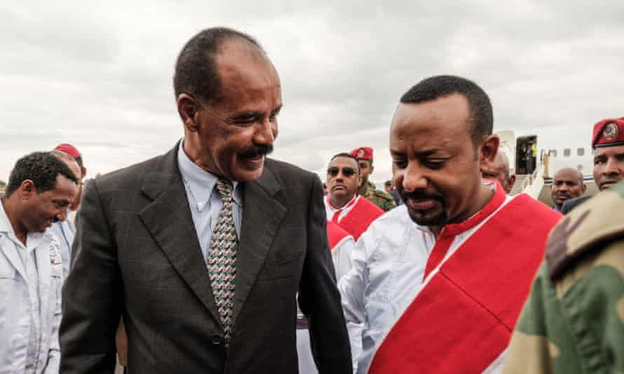 Abiy Ahmed (right) and Isaias Afwerki.