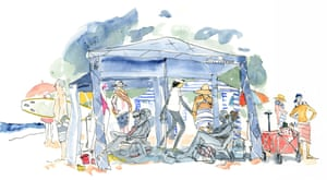 A cartoon illustration depicting the rising obsession with cabanas, carts and loungers among Australian beachgoers.