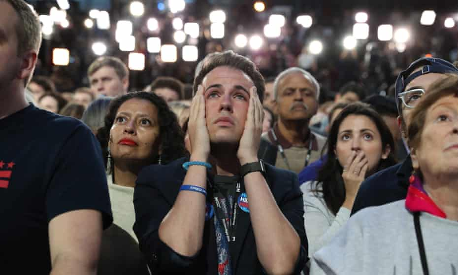 People in the crowd at Hillary Clinton's 2016 US presidential election night party in New York.