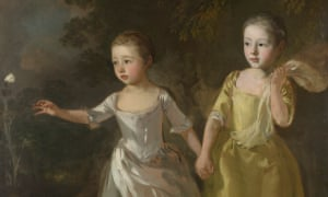 Mary and Margaret Gainsborough, Artist's Daughters Chasing a Butterfly by Thomas Gainsborough, c1756.