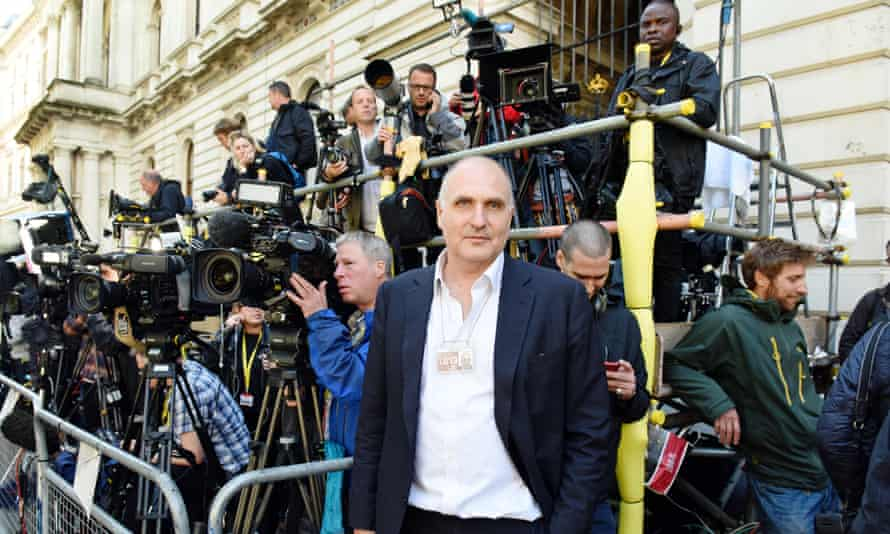 John Crace and the media scrum on Downing Street, June 2017.