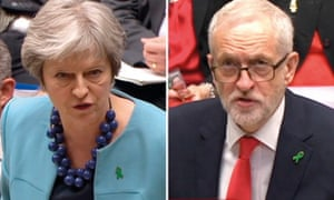 Theresa May and Jeremy Corbyn at PMQs on Wednesday.