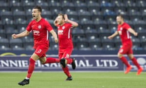 Connah's Quay Nomads' Callum Morris celebrates after his penalty, which proved enough to eliminate Kilmarnock.