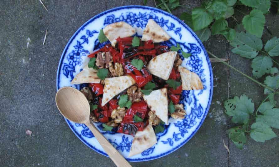 Chargrilled red pepper and walnut salad.