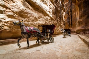 Horse carriages inside Petra