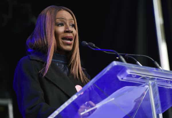 Film-maker Amma Asante addresses the crowd at the Share Her Journey rallyduring the Toronto International Film Festival.
