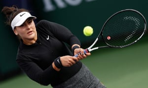 Bianca Andreescu in action against Stefanie Voegele at the Indian Wells