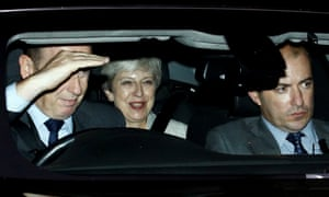 Theresa May leaving the Houses of the Parliament last night.