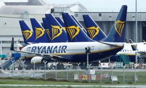 Ryanair planes at Dublin airport during the coronavirus crisis