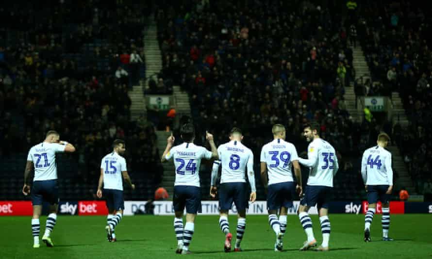 Sean Maguire of Preston celebrates scoring against Fulham.