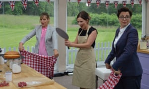 Mel Giedroyc, left, and Sue Perkins flank the 2016 winner of The Great British Bake Off, Candice Brown. 'It was not a kind show,' said Perkins.