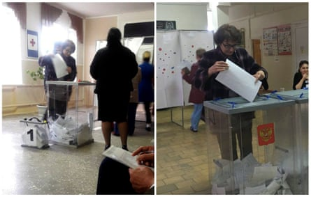 Ludmila Sklyarevskaya, who denied voting multiple times, casts a ballot at polling station number 215 (left) and at polling station number 216 in the presidential election in Ust-Djeguta, Russia.