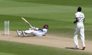 Jermaine Blackwood is floored by a ball from Jofra Archer in the first Test