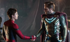 Superhero shake-up ... Tom Holland and Jake Gyllenhaal.