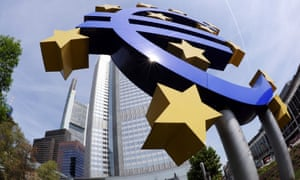 A giant euro symbol outside the European Central Bank in Frankfurt, Germany
