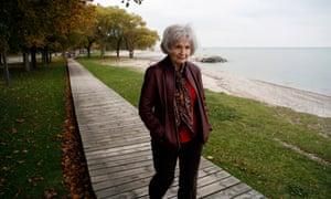 Alice Munro walks along the eastern shore of Lake Huron.