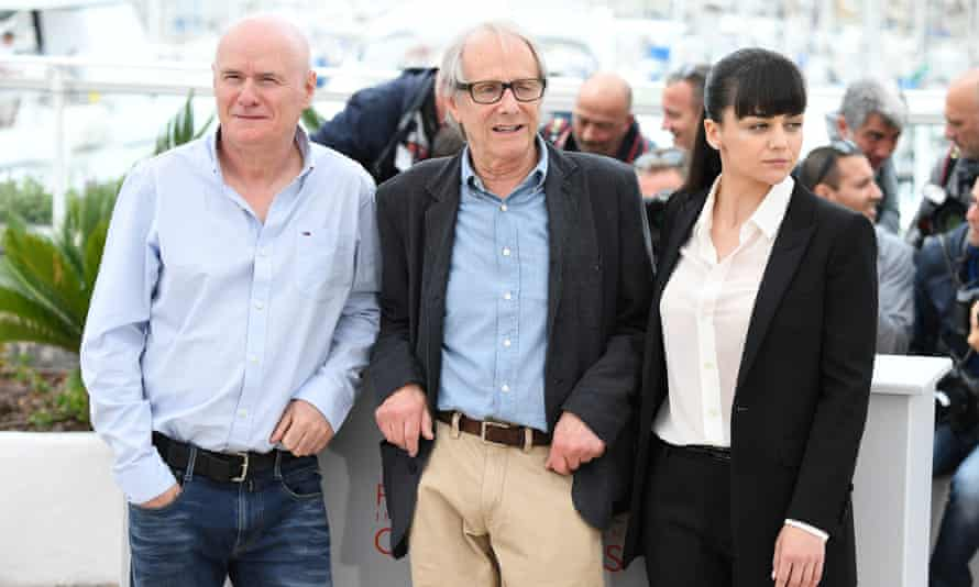 Dave Johns, Ken Loach and Hayley Squires in Cannes