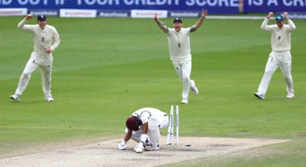 Shai Hope is bowled by Stuart Broad.