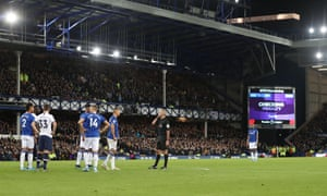 After a three-minute delay at Goodison Park on Sunday VAR opted not to award a penalty to Everton after Dele Alli of Spurs appeared to handle the ball in the area.