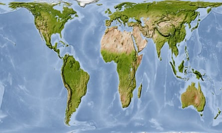 The Gall-Peters projection, which shows land masses in their correct proportions by area, puts the relative sizes of Africa and North America in perspective.
