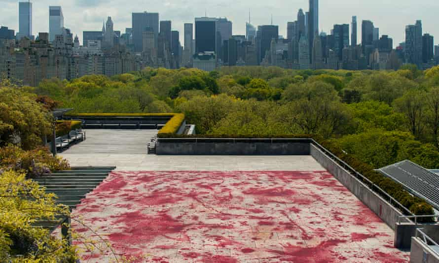 Evoking carnage … the roof terrace at the Metropolitan Museum of Art, New York, painted over by Imran Qureshi.